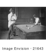 #21643 Stock Photography Of A Woman Resting On The Edge Of A Pool Table Leaning On A Cue Stick While Watching Her Friend Play