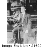 #21652 Stock Photography of William Frederick Hoppe Holding a Cuestick and Sitting on a Table by JVPD
