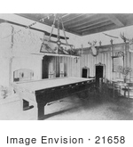 #21658 Stock Photography Of A Pool Table In A Rec Room In The Home Of Edmund Cogswell Converse Greenwich Connecticut 1908