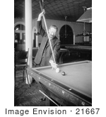 #21667 Stock Photography Of Firmin Cassignol Taking A Difficult Shot While Playing Pool