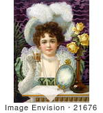 #21676 Stock Photography of a Vintage Advertisement of an Elegant Woman Drinking From a Cup by JVPD