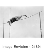 #21691 Stock Photography Of A Man Robinson Pole Vaulting