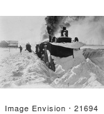 #21694 Stock Photography of a Train Plowing Snow in Michigan by JVPD
