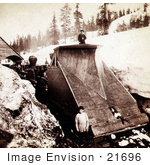#21696 Stock Photography of a Train Plough of the Central Pacific Railroad Plowing Snow in the Sierra Nevada Mountains, Sacramento, California by JVPD