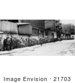 #21703 Stock Photography Of People In A Long Breadline At The Mccauley Water Street Mission Under The Brooklyn Bridge New York During The Great Depression