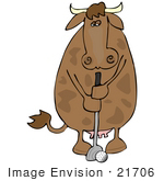 #21706 Clipart Of A Humanlike Brown Cow Golfing