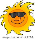 #21710 Clipart Of A Happy Hot Sun Wearing Sunglasses