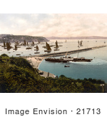 #21713 Historical Stock Photography Of A Steamship And Sailboats In The Harbour Brixham Devon England United Kingdom