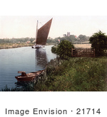#21714 Historical Stock Photography Of A Sailboat On The River Bure In Belaugh Norfolk England