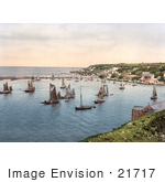#21717 Historical Stock Photography Of Sailboats In The Harbour At Brixham Devon England United Kingdom