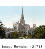 #21718 Historical Stock Photography Of The Angelican Chichester Cathedral In Chichester West Sussex England