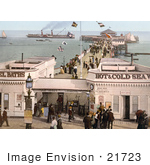 #21723 Historical Stock Photography Of The Admission Stand Baths And Steamers At The Clacton Pier In Clacton-On-Sea Essex England Uk