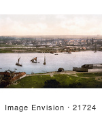 #21724 Historical Stock Photography Of Sailboats And Steamships At The Dockyard On The River Medway In Chatham Kent England Uk