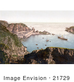#21729 Historical Stock Photography Of Ships Down Below In The Creux Harbor In Sark Channel Islands England