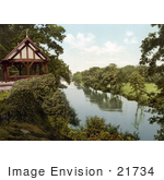 #21734 Historical Stock Photography Of A Gazebo Or Bandstand On The Bank Of The River Dee In Chester Cheshire England Uk