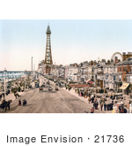 #21736 Historical Stock Photography Of The Promenade Near The Tower In Blackpool Lancashire England