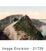#21739 Historical Stock Photography Of The Narrow Unpaved Road Of The Coupee Isthmus In Sark Channel Islands England