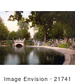#21741 Historical Stock Photography Of A Footbridge Over The Pond In Pittville Gardens Cheltenham Gloucestershire England