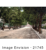 #21745 Historical Stock Photography Of A Tree Lined Promenade Near The Queen'S Hotel In Cheltenham Gloucestershire England