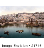 #21746 Historical Stock Photography Of Boats In The Harbour Of Brixham Devon England United Kingdom