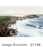 #21748 Historical Stock Photography Of The Coast Of Newquay Towan Head Cornwall England