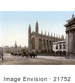 #21752 Historical Stock Photography Of Carriages In Front Of The King'S College Chapel In Cambridge Cambridgeshire England United Kingdom
