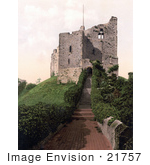 #21757 Historical Stock Photography Of Stairs And Hedges At The Keep Of Arundel Castle West Sussex England