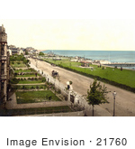 #21760 Historical Stock Photography Of Coastal Buildings Lawns And Street At Clacton-On-Sea Essex England