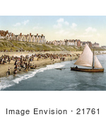 #21761 Historical Stock Photography Of People Crowding On The Beach As A Yacht Starts Off From Clacton-On-Sea Essex England