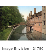 #21780 Historical Stock Photography Of The Mathematical Wooden Bridge Over The River Cam At Queen'S College Cambridge England