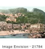 #21784 Historical Stock Photography Of The Harbor And Red Lion Hotel In Clovelly Devon England
