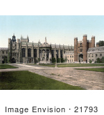 #21793 Historical Stock Photography Of The Great Court And Fountain And Great Gate At Trinity College Cambridge Cambridgeshire England Uk