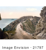 #21797 Historical Stock Photography Of A Man Leaning Against The Railing On La Coupee Isthmus In Sark England
