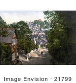 #21799 Historical Stock Photography Of A View Of The Launceston Castle And Town Of Launceston From St Stephens Cornwall England