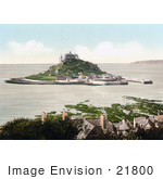 #21800 Historical Stock Photography of St. Michael's Mount Castle on Mount's Bay, Penzance, Penwith, Cornwall, England, United Kingdom by JVPD