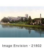 #21802 Historical Stock Photography of the Christchurch Priory Church and the Ruins of the Keep, Dorset, England by JVPD