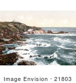 #21803 Historical Stock Photography Of The Lizard Lighthouse At Lizard Point Cornwall England