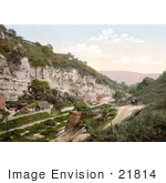 #21814 Historical Stock Photography Of A Person In A Carriage At Stoney Middleton Dale Derbyshire England
