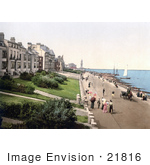 #21816 Historical Stock Photography Of People Strolling The Beachfront Promenade In Herne Bay Kent England