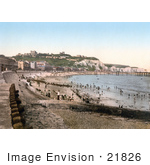 #21826 Historical Stock Photography Of The Beach Dover Castle White Cliffs And Seafront Buildings In Dover Kent England