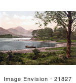 #21827 Historical Stock Photography Of A Person In A Boat On Derwent Water Broomhill Point Lake District England