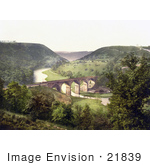 #21839 Historical Stock Photography Of The Headstone Viaduct Of The Midland Railway Over The Wye River Mansal Dale Derbyshire England