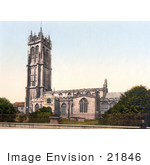 #21846 Historical Stock Photography Of The Tower Of St Johns Church In Glastonbury Somerset England