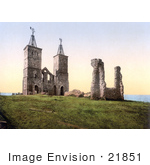 #21851 Historical Stock Photography Of The Ruins Of The 14th Century Reculver Church Near Herne Bay North Kent England