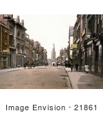 #21861 Historical Stock Photography Of Storefront Buildings And Street Scene Of Westgate Street In Gloucester England