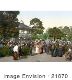 #21870 Historical Stock Photography Of People Enjoying Band Playing Music In A Gazebo In The Harrogate Valley Gardens North Yorkshire England