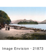 #21873 Historical Stock Photography Of People At The Boat Landing On The Shore Of Derwent Water Lake District England