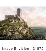 #21875 Historical Stock Photography Of The Church Of St Michael On Top Of Brent Tor Brentor Dartmoor Devon England