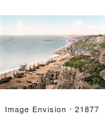 #21877 Historical Stock Photography Of Boats On The Beach And The Coastline Of Hastings Sussex England