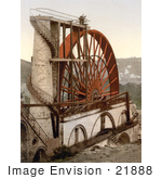 #21888 Historical Stock Photography Of Men On Top Of The Laxey Wheel Or Lady Isabella Laxey Isle Of Man England